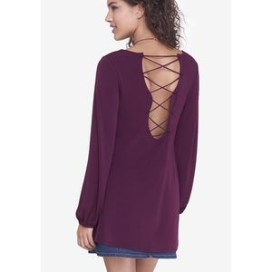 Express V Neck Lace Up Strappy Back Tunic Top